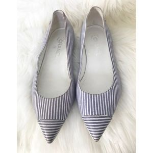 Chanel pin striped leather flat size 39